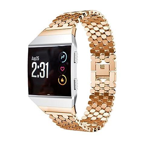 Bande pour Fitbit Ionic, Gaddrt solide en acier inoxydable accessoire montre bracelet en métal (Or rose)
