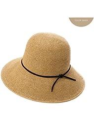 LWT - sombrero sombrero de hierba de verano de las mujeres sombrilla plegable de marea sombrero de sol grande de playa de verano sunbat casquillo de mano de precisión plegable