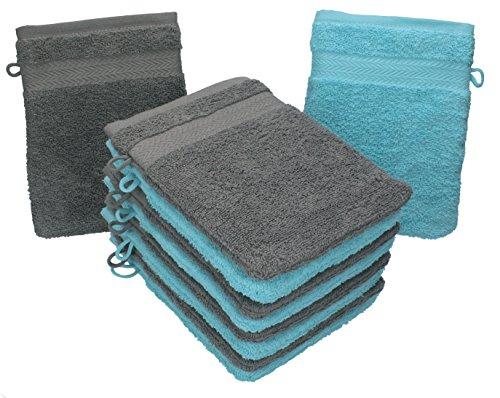 Betz 10er Pack Waschhandschuhe Waschlappen Größe 16x21 cm Kordelaufhänger 100% Baumwolle Premium Farbe Anthrazit Grau & Türkis