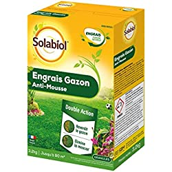 SOLABIOL SOGAZMOU80 Engrais Gazon Anti-Mousse Double Action 80m2, Etui 3,2 kg