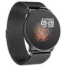 Azorex SmartWatch Multifunción Reloj Inteligente Redondo Impermeable IP67, Pulsera Actividad Control Remoto Correa Metal Negro Q88-Metal-Negro