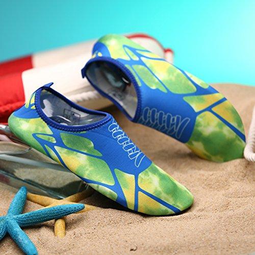 SUNAVY Unisex Barfuß Wasser Strandschuhe Aquaschuhe Breathable Schlüpfen Schnell Trocknend Schwimmschuhe Surfschuhe Yogaschuhe Fitnessschuhe (EU 34—EU 43) Blaugrün