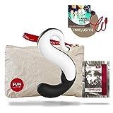 Fun Factory DELIGHT Akku, schwarz/weiß, Vibrator aus Silikon für sie Klitoris und G-Punkt (Set inkl. tollen Zubehör) Aufliegevibrator, Schwan, inkl. USB-Ladekabel