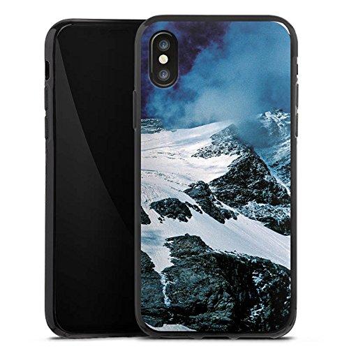 Apple iPhone X Silikon Hülle Case Schutzhülle Gebirge Berge Schnee Silikon Case schwarz