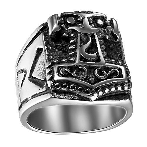 JewelryWe Schmuck Biker Herren-Ring, Edelstahl, Thors Hammer Siegelring, Schwarz Silber