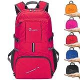 ZOMAKE 35L Ultraleicht Faltbare Wanderrucksack, Multi-Funktionale Stopfbare Wasserdichte Casual Camping Tagesrucksack für Outdoor-Sport Klettern Bergsteiger(Rot)