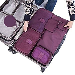 SZTARA Travel Organisers Essential Bags-in-Bag Travel Storage Waterproof Nylon Drawstring Dry Bag Clothes Suitcase Luggage Storage Bags Set of 6 BIG SPACE