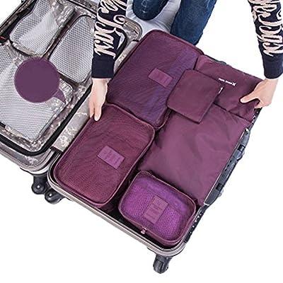 SZTARA Travel Organisers Essential Bags-in-Bag Travel Storage Waterproof Nylon Drawstring Dry Bag Clothes Suitcase Luggage Storage Bags Set of 6 BIG SPACE