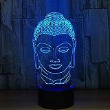 3D Statue de Bouddha LED Lampe Art Déco Lampe Lumières LED Décoration Maison Enfants Meilleur Cadeau Lumière Touch Control 7 Couleurs Change USB Lampes Bureau Powered