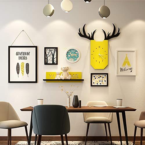 SMAQZ Nordic Wohnzimmer Hirschkopf Foto Wand Sofa Hintergrund dekorativen bilderrahmen Kombination Restaurant hängenden Wand hängenden schmuck schwarzweiß-Modelle 5 Boxen über Wand 150 * 69 cm - Schmuck-box Wand-hängende