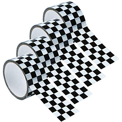 resinta 4Rollen und 65auf Karierte Tape schwarz und weiß kariert Flagge Tape Schachbrett Dekorationen, 4,6cm von 16,25Meter pro Rolle -
