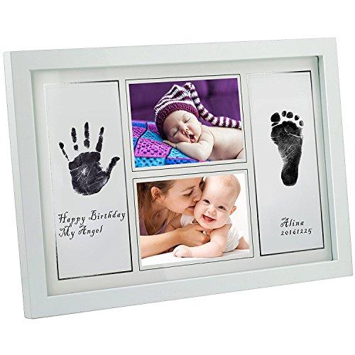[Große Version 42x28x1,8cm] GIMARS Baby Handabdruck und Fußabdruck Rahmen Set, Baby Foto Erinnerung Abdruck Bilderrahmen in Weiß mit schadstofffreier Tinte - Geschenk zur Geburt oder zur Taufe
