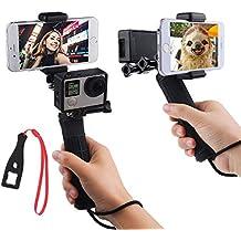 First2savvv GO-ST-GJ-A01BS negro mango la estabilización de empuñadura para GoPro Hero con doble montaje, adaptador de trípode y de soporte para telefono universal - Grabar la cámara de video con 2 diferentes angulos de forma simultanea para Gopro Hero 4 HERO 5, Session, Black, Silver, Hero+ LCD, 3+, 3, XIAOMI 1 YI 2 4K SJ5000 SJ6000 + Llave Llave