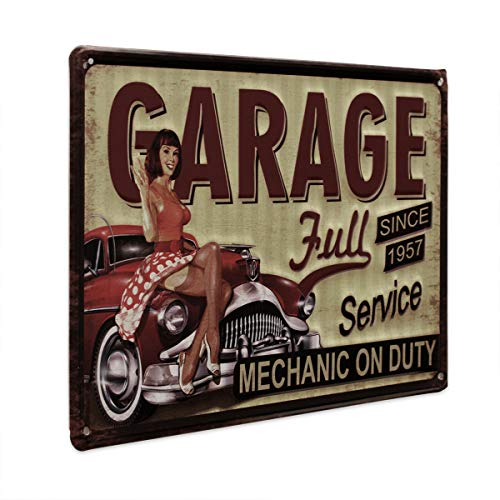 PHOTOLINI Blechschild Retro Pin Up Garage Full Service 20x30 cm Retro Metallschild Spruch Werkstatt