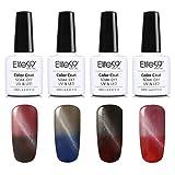 Elite99 Nagellack, Ändert die Farbe nach Temperatur, Farbwechsel- & Katzenaugen-Effekt, Maniküre-Set, 4 Stück Nagellack, Soak-Off-Gel, farbig, semi-permanenter Lack, Nagelkunst, 10ml
