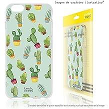 FunnyTech® Funda Silicona para BQ Aquaris M5 [Gel Silicona Flexible Alta Calidad] [Ultra Slim 1,5mm-Gran Resistencia] [Diseño Exclusivo, Impresión Alta Definición] [Cactus patrones fondo verde]