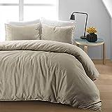 Nimsay Home - Set di biancheria da letto in lino cotone, con copripiumino., Cotone lino, Natural, Singolo