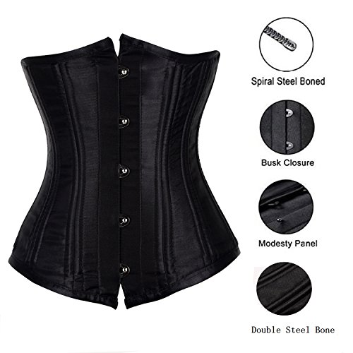 4474b829a3 Kisstar Women s Waist Trainer Cinchers 26 Steel Boned Heavy Duty Underbust  Corset Vintage Stain Girdle Bustier Lingerie Shapewear Body Shaper Basques  for ...