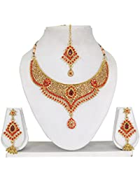 Vipin Store Golden & Red Color Kundan & Stone Gold Plated Jewelery Set