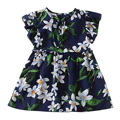 MEIbax Kleinkind Baby Kinder Mädchen Fliegenhülse Geraffte Blumen Prinzessin Kleider Minikleid Sommerkleid Blumenkleid