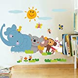 Wallpark Karikatur Glücklich Spielend Tiere Elefant Affe Abnehmbare Wandsticker Wandtattoo, Kinder Kids Baby Hause Zimmer Kinderzimmer DIY Dekorativ Klebstoff Kunst Wandaufkleber