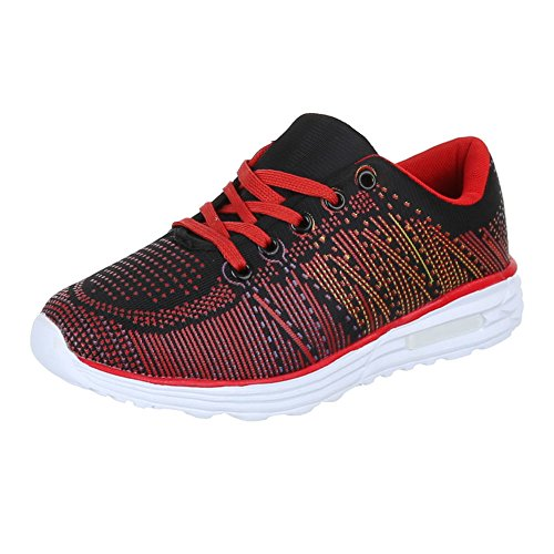 Ital-Design Sportschuhe Damenschuhe Geschlossen Sneakers Schnürsenkel Freizeitschuhe Rot Schwarz
