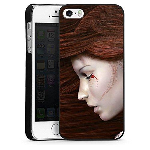 Apple iPhone 5 Housse Étui Silicone Coque Protection Femme Femme Sang CasDur noir