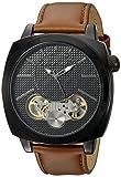 Sean John Men's 'Faux Automatic' Quartz Metal and Leather Dress Watch, Color:Brown (Model: SJC0179002)
