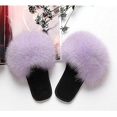 TDXIE Autunno/inverno pantofole peluche agnello volpe pelliccia cappotto di pelliccia indossa scarpe di casa , c , 40