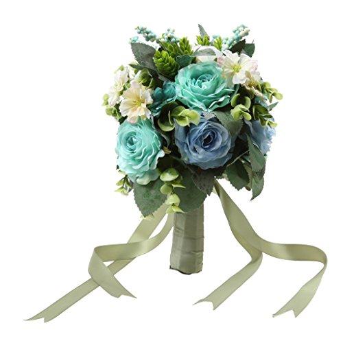 Brautjungfer Rose Blumenstrauß Brautstrauß Mit Bändern Hochzeit Dekoration - Blau, L (Blau Brautstrauß)