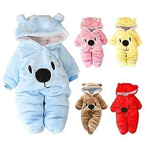 iBaste Strampler Baby Neugeborenes Overall Fleece Schneeanzüge Winter Baby Outfit mit Kapuze Pullover Baby Jungen Mädchen Einteiler Jumpsuit