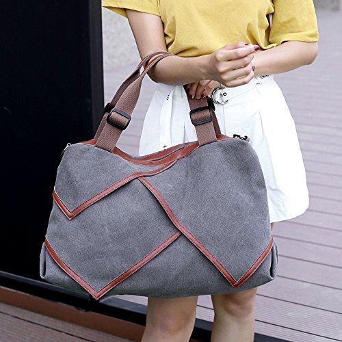 Young & Ming - Retrò Tela Borsa a tracolla da donna Vintage Cuciture borsetta Borse a mano sacchetto Scuola Militare Messenger Borsa a Spalla shopper grande Grigio