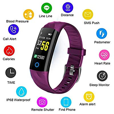 LIGE Fitness Trackers,Waterproof Sport Smartwatch Black Activity Tracker Heart Rate Monitor Pedometer,Outdoor Sports Fitness Watch Smart Bracelet with Step Counter for Men,Women and Kids by LIGE