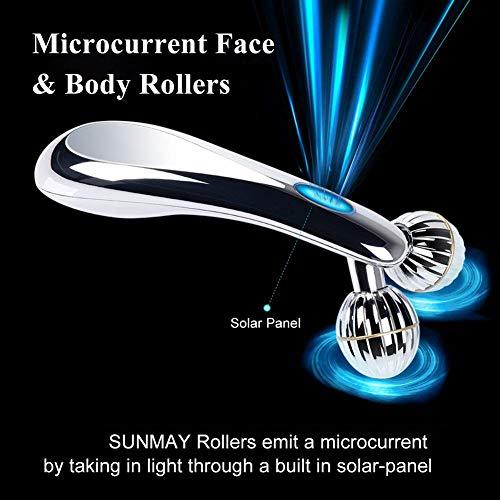 SUNMAY 3D Gesicht Roller Massage Gesichtslifting Massager - Gesichtsroller mit Mikrostrom für Gesichtsmassage, Hautstraffung, Doppelkinn Entfernen - Massagegerät Massageroller für Gesicht, Körper - 3