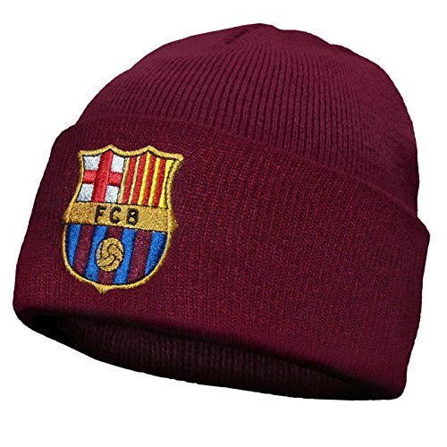 FC Barcelona Offizieller Fußball Strickmütze Bronx Wappen, offizielles Fanprodukt, Rot, Einheitsgröße -