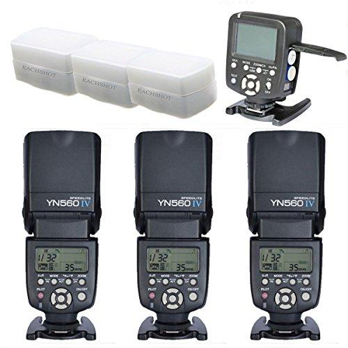 YONGNUO 3pcs YN-560 IV Flash Speedlite With 560TX-C Transmitter for Canon EOS 5D,5D25D Mark II,1D,7D, 60D ,50D, 40D, 30D, 600D, 550D, 500D, 450D, 400D, 350D ,300D,1100D,6D With 3pcs EACHSHOT Diffuser
