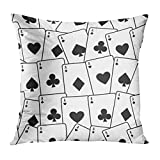 Aoliaoyudonggha Zippered Pillowcases Casino Playing Pattern Black Game Suit White Abstract Custom Square Size 18 x 18 Inches Home Decor Cushion Pillow Cover