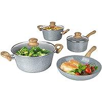 BRATmaxx 03116 Keramik-Koch- & Bratset | 2 Töpfe, 1 Stielkasserolle & 1 Pfanne | Geeignet für Induktion | Geeignet für Spülmaschine | Abperl-Effekt | Granit-Optik