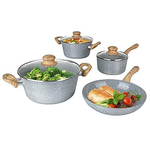BRATmaxx 03116 Keramik-Koch- & Bratset | 2 Töpfe, 1 Stielkasserolle & 1 Pfanne | Geeignet für Induktion | Geeignet für Spülmaschine | Abperl-Effekt |