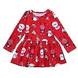 KanLin1986 Abbigliamento bambino bambina Natale vestito manica lunga (Rosso, 6-7T----130cm)