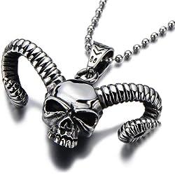 COOLSTEELANDBEYOND Gótico, de Azrael,con cuernos, de hombre, acero inoxidable, biker, diablo, demonio, cadena 60 cm