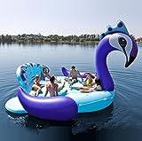LUYR.R 6-10 Menschen Aufblasbare Flamingos Schwimmende Reihe Erwachsene PVC Pfau Schwimmende Bett Kinder Einhorn Wasser Unterhaltung Spielzeug,Blue