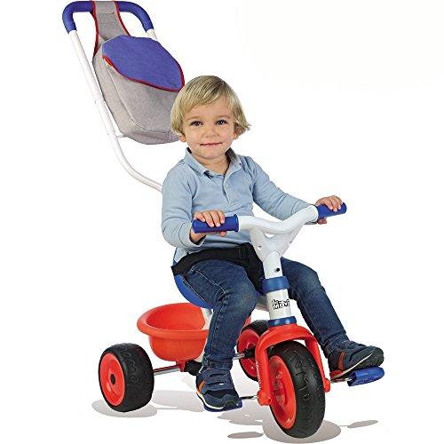 Dreirad 2 in 1 mit abnehmbarer Doppel Schiebestange aus Metall, Gurt und Tasche, Mitwachsendes Kinderfahrzeug mit Flüster Reifen, Pedal-Freilauf und Lenkblockierung, Schiebewagen ab 15 Monaten