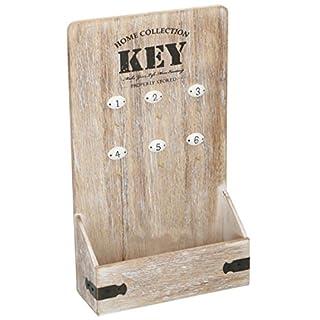 ArtiCasa Schlüsselkasten Wandleuchte mit 6Haken Nummerierten und Box Aufbewahrungsbox aus Holz MDF Natur 22x 37,5cm