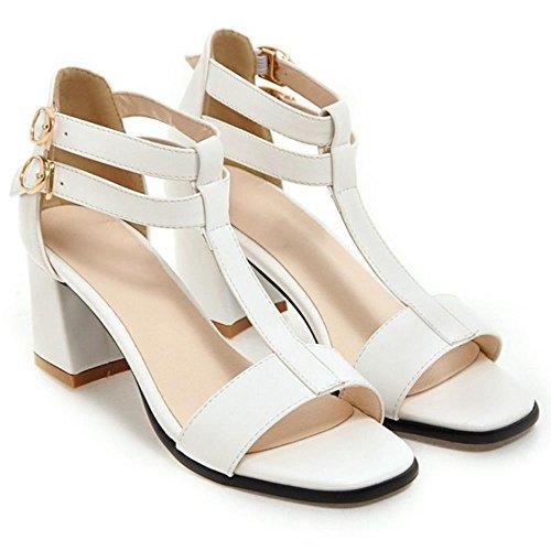 COOLCEPT Femmes Mode T-strap Orteil ouvert Chunky Heel Sandales Blanc