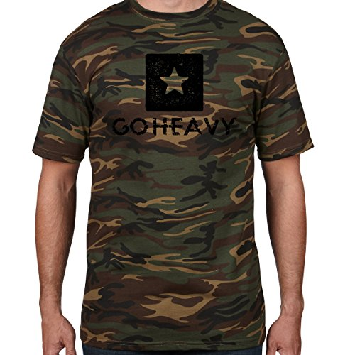 GO HEAVY Camiseta Para Hombre - Big Star Logo - Camo XL