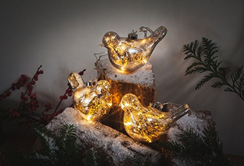 Lot de 3 colombes vintage en verre avec 16 LED à piles Blanc chaud – et minuteur Vintage Gold