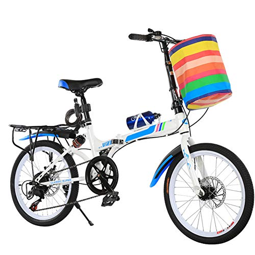 KXDLR Bicicletas 20 Pulgadas Bicicleta Plegable En Tándem De La Bici Adultos Viaje Bicicleta De Los...