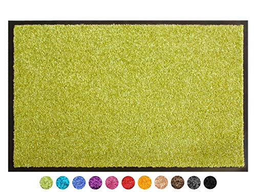 Primaflor - Ideen in Textil Schmutzfangmatte CLEAN - Grün 60x90 cm, Waschbare, rutschfeste, Pflegeleichte Fußmatte, Eingangsmatte, Küchenläufer Sauberlauf-Matte, Türvorleger für Innen & Außen