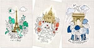 Parischeri 3TORPMOASS 3 Torchons Paris Monuments Coton 50 x 75 cm